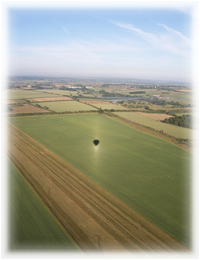 Book a Hot Air Balloon Flight over Northamptonshire. (Photo of balloon flight near Thame, Oxfordshire.)